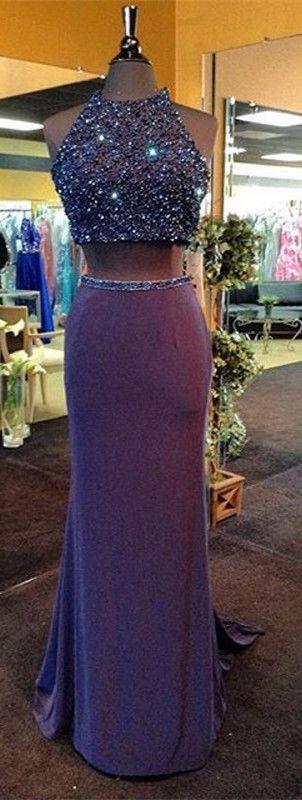two piece prom dresses, 2017 prom dresses, purple prom dress, sparkly prom dresses