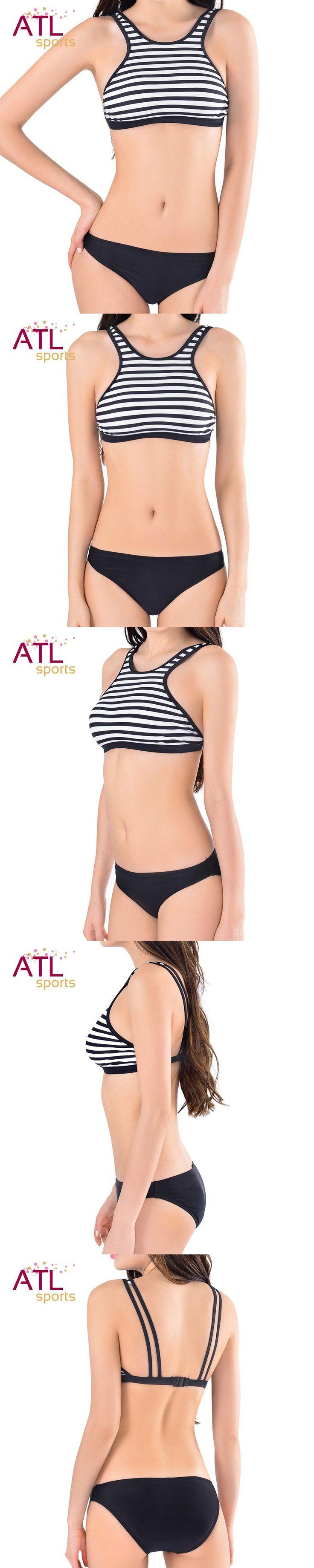 Tankini Bikini Set Swimsuits Women High Neck Swimsuit Two Piece Swimwear 2016 Summer Bikini Black And White Stripes Bathing Suit $24.96