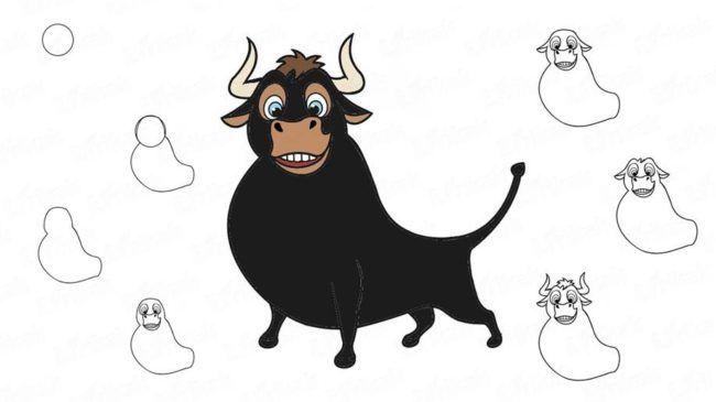 Как нарисовать Быка на Новый год 2021 (поэтапные фото-уроки) в 2020 г | Бык, Морды животных, Корова