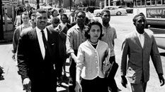 C.T. Vivian and Diane Nash lead a demonstration march to City Hall in Nashville, TN.
