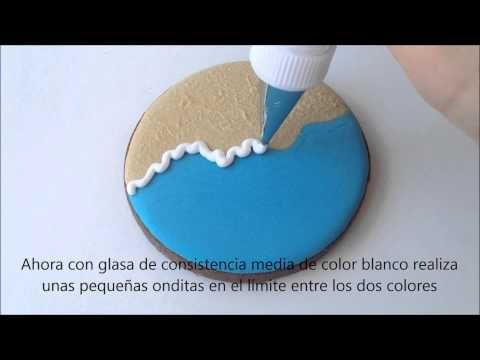 """Galletas decoradas con """"Efecto Playa"""" (Brush Embroidery) {Tutorial}"""