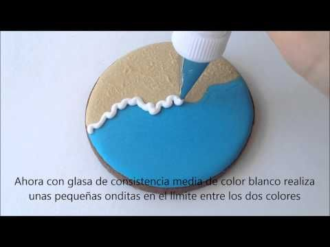 """Galletas decoradas con """"Efecto Playa"""" (Brush Embroidery) {Tutorial}                                                                                                                                                                                 Más"""