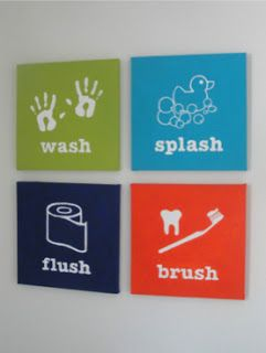 Imagine these for a bachelor....Sh**, flush, shower, shave...... Painted Bathroom Rules Signs. Love this!  #organizedkids