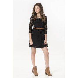 Black lace 3/4 sleeve belted skater dress
