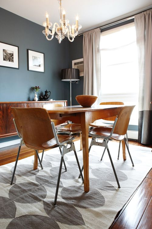 Lovely dining room joshua jodie steen on design sponge Grey sponge painted walls
