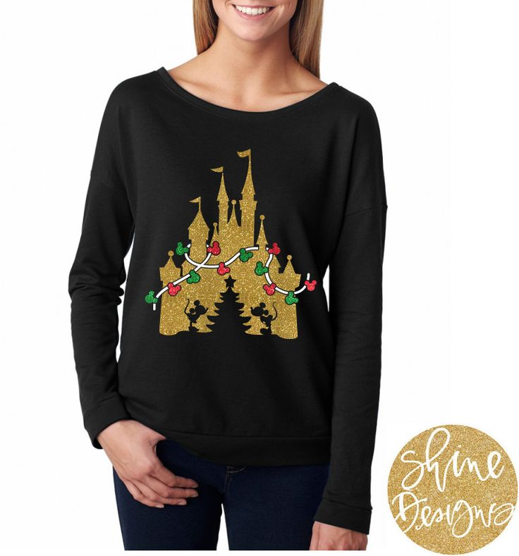 Disney Christmas Castle - Glitter Shirt  For those of you who love Disney holidays, this is the perfect fall shirt for you! Perfect for Mickeys Very Merry Christmas. This all glitter design comes on a black shirt, you choose the style! We would love for you to share your pictures with us!!  ✶✶✶Follow US on IG → https://instagram.com/shine.designs/ and facebook → https://www.facebook.com/shinedesigns.shop where we announce our clearanced items, coupons & ...