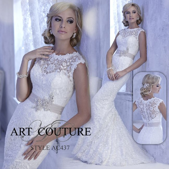 I butikk <3 ABELONE.NO <3  Lace sheath wedding dress with bateau neckline, capped sleeves and grosgrain ribbon band with beaded waist motif. AC437 is available in Ivory, White or Ivory Blush as pictured. #artcouture #eternitybridal #weddings #bigday #bridal #bridalgowns #gettingmarried #weddingfashion #weddingdress #vintage #lace