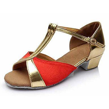 Kid Girl Dance Shoes Leatherette Fabric Leatherette Fabric Latin Sandals Heels Cuban Heel Performance Gold/Sliver/Red/Blue Customizable