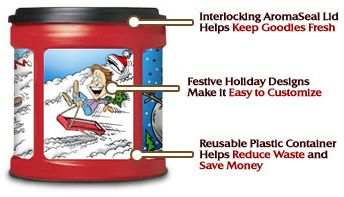 Reuse Folgers Containers for Christmas Cookie Containers: Christmas Cookies, Plastic Coffee Container, Christmas Gifts Ideas, Printable Labels, Cute Ideas, Coffee Cans, Folgers Coff, Cookies Gifts, Folgers Plastic