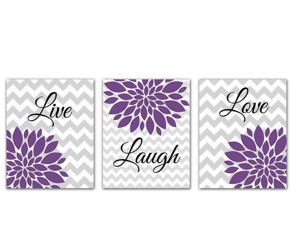 Purple Live Laugh Love Flower Bursts Set Gray Chevron Prints Wall Art Room Decor Nursery Room Art for Kids Room 3-8x10 (164abc)