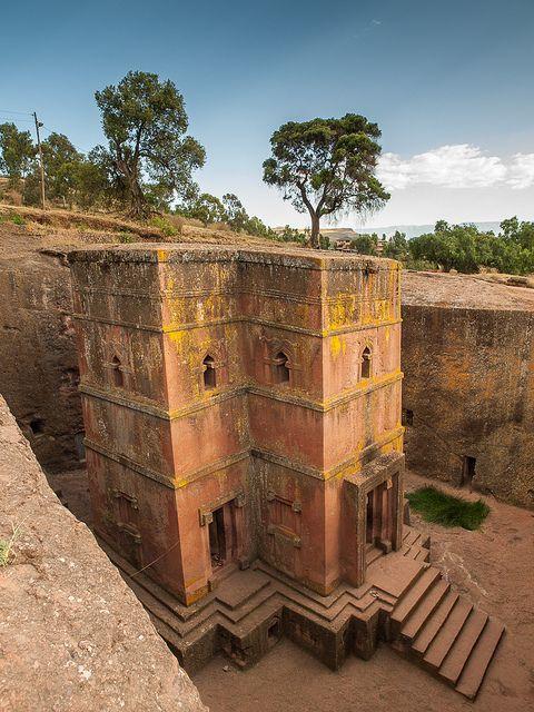The rock-hewn church of Bet Giyorgis in Lalibela, Ethiopia (by Keith).