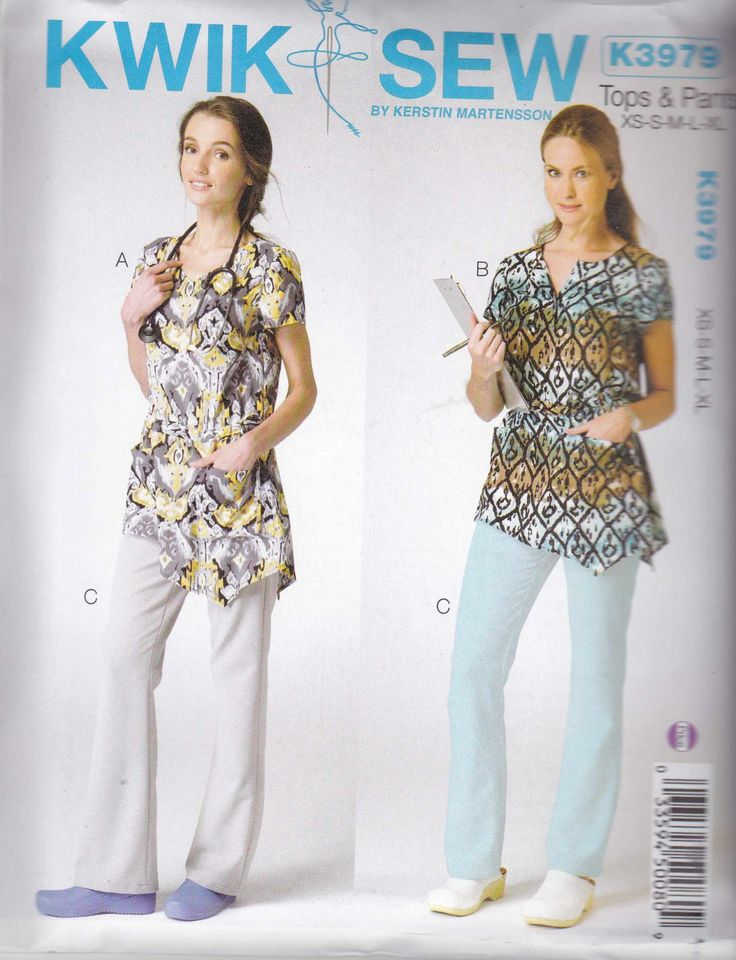 Kwik Sew Sewing Pattern 3979 Misses Sizes XS-XL (approx 6-22) Scrub Uniform Tops Pants