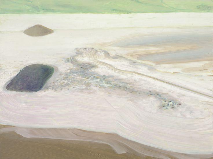 Carol Rhodes, Shore, 2013, oil on board, 46 x 61cm. Courtesy the artist and…