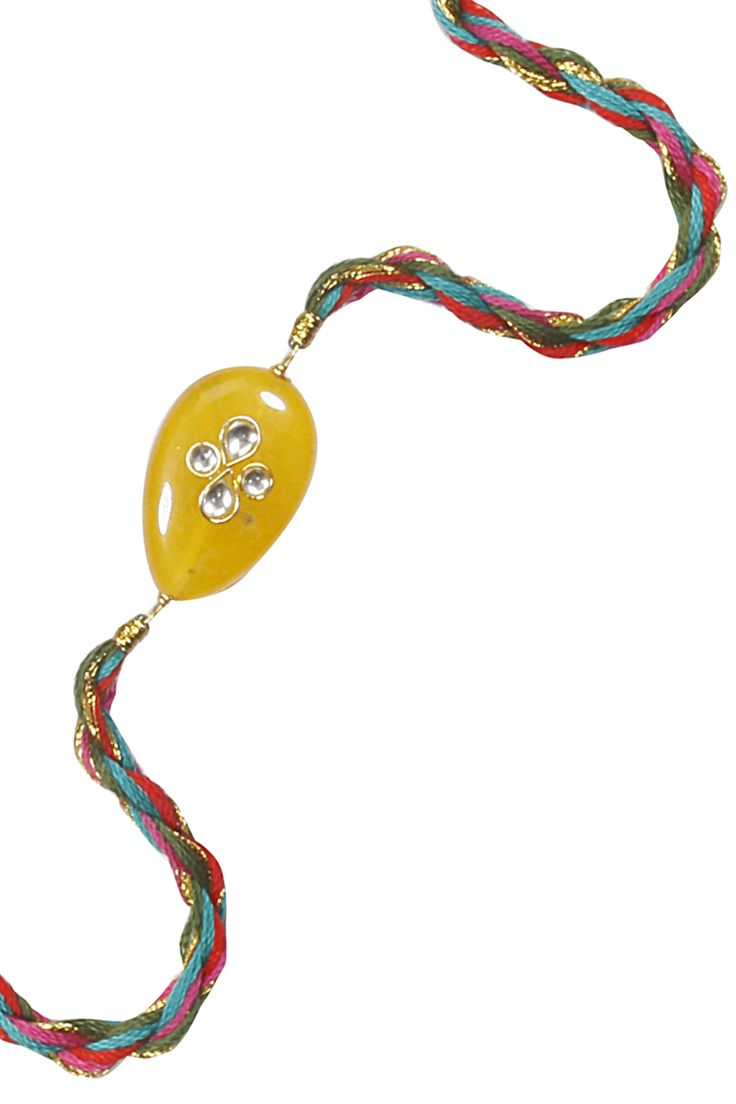 Multicolour kundan studded thread rakhi available only at Pernia's Pop Up Shop.
