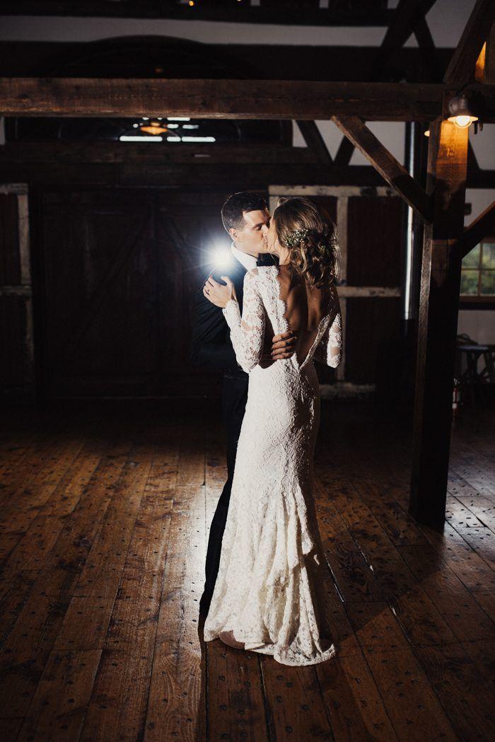 Magical DIY Vermont Wedding at Riverside Farm | Junebug Weddings // Oscar de la Renta lace wedding dress
