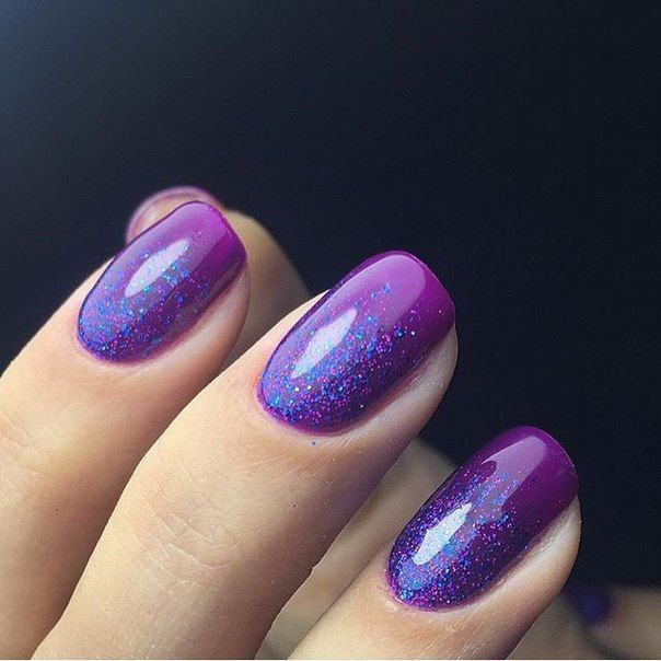 Accurate nails, Bright gradient nails, Easy nail designs, Evening nails, Festive nails, Glitter nails, Glitter nails ideas, March nails 2016