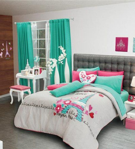 Isn't this turquoise and hot pink Eiffel Tower Paris themed bedding too cute and teen-cool?!