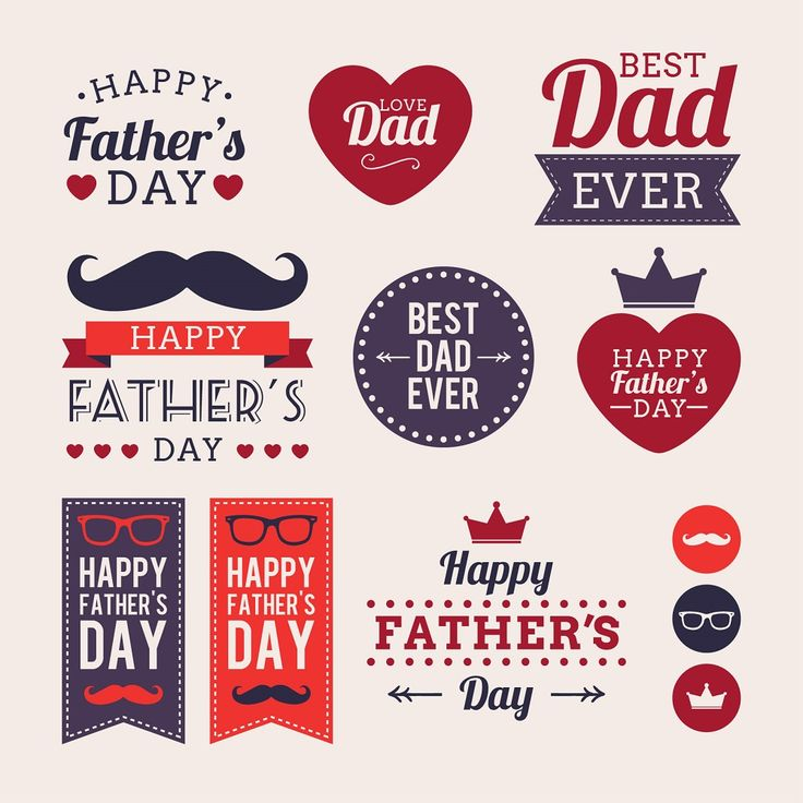creative fathers day labels vector