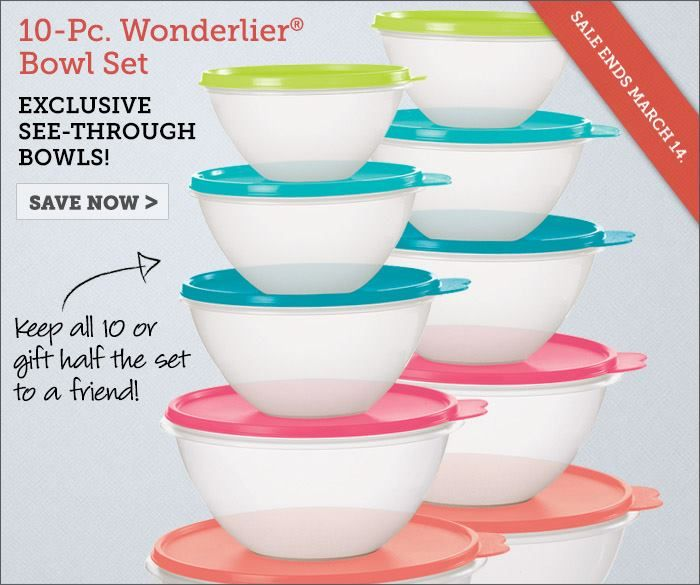 Hurry! This 10-piece Wonderlier set sale ends this coming Friday! Save $43!! Visit tupperwarenow.com