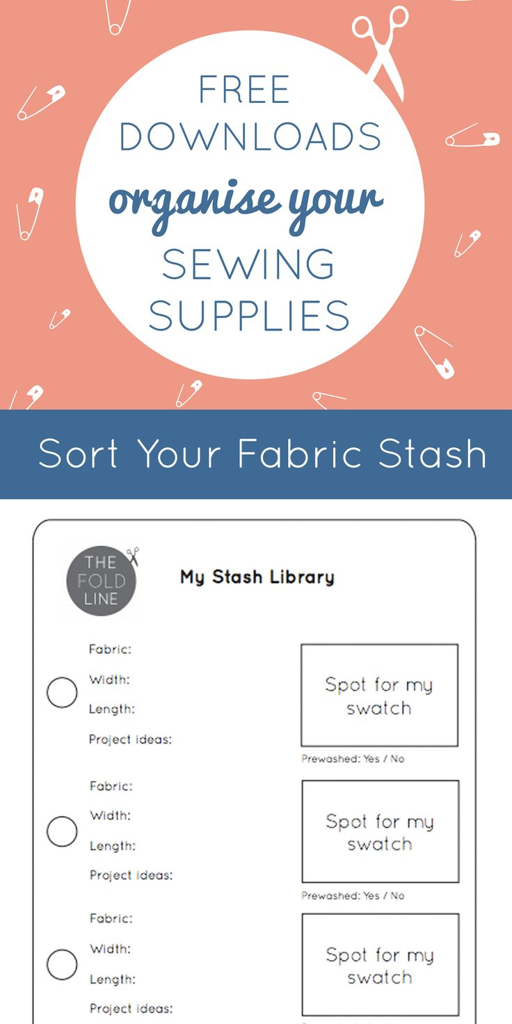 Free Download: Organise your sewing room with this handy download. Here to help you sort out your fabric stash and make you organised for you next sewing project