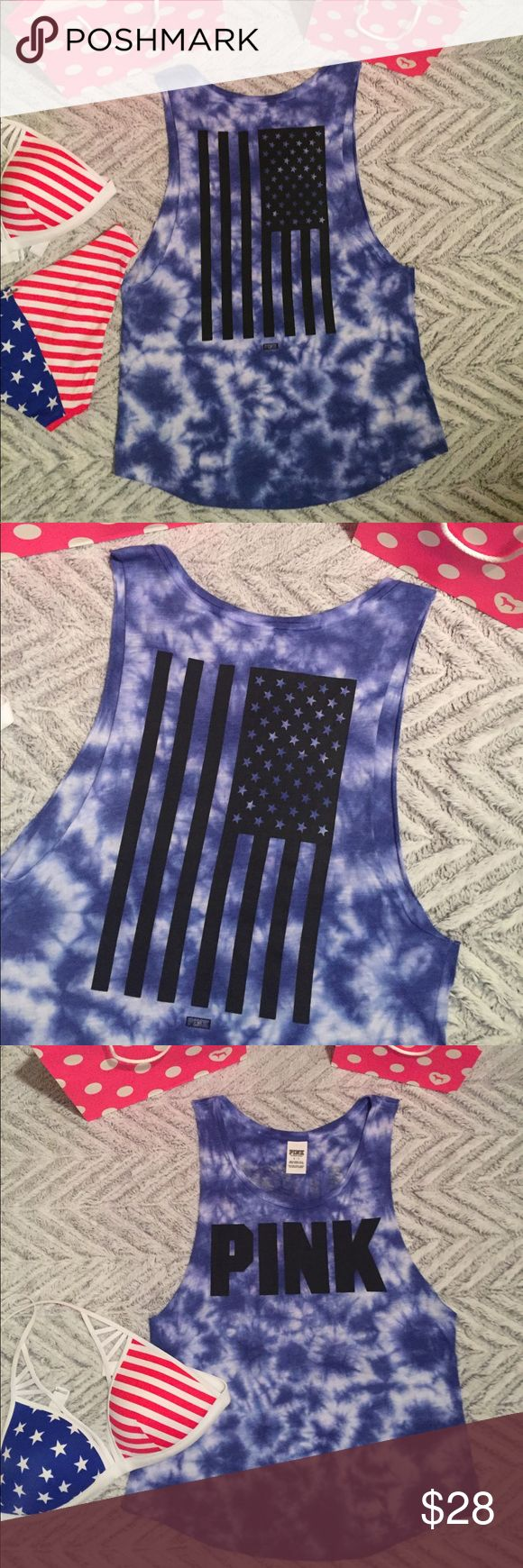 Victoria's Secret Pink Americana Tank Top VS Pink • Americana Print Tank Top • Blue Tie Dye Coloring • Large Flag graphic on back • Size Small - oversized • Perfect for celebrating the Fourth of July! * ❤️ Bikini Listed separately * PINK Victoria's Secret Tops Tank Tops
