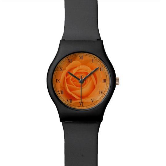 Amber Flush Rose Watch by www.zazzle.com/htgraphicdesigner* #zazzle #gift #giftidea #wrist #watch #wristwatch #rose #orange #flower