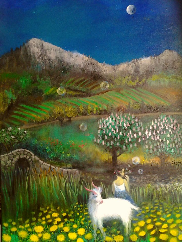 €550.00. my daughter asked for a painting of a goat, so this is the result. I like chestnut trees in spring, dandelions, mountains, spooky forests and vineyards.
