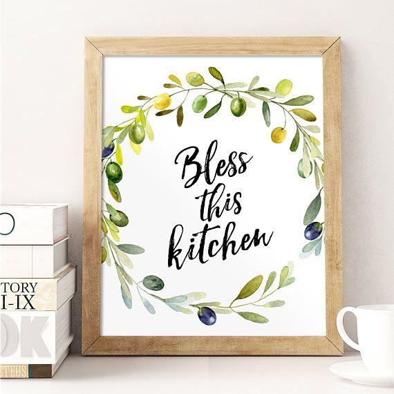 Kitchen Print, Bless This Kitchen, Olive Wreath, Kitchen Decor, Wall Art,