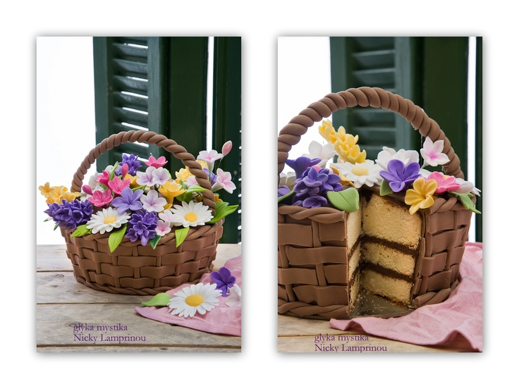 How To Make A Basket Of Flowers Cake : Flower basket cake easter eggs cookies cakes