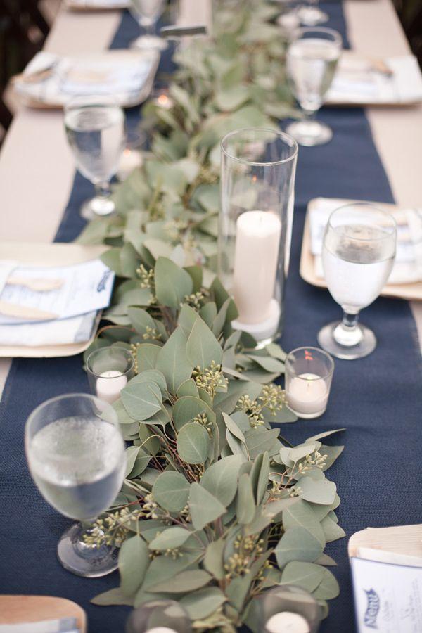 eucalyptus table runner - photo by Katrina Louise http://ruffledblog.com/secluded-garden-estate-wedding