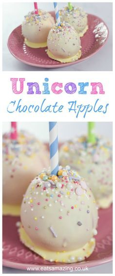 Easy unicorn Chocolate Apples Recipe with video tutorial - fun food for kids from Eats Amazing UK     #Unicorn #unicornparty #unicornfood #candyapples #sprinkles #chocolate #whitechocolate #apples #bonfirenight #fireworks #kidsfood #funfood #foodart