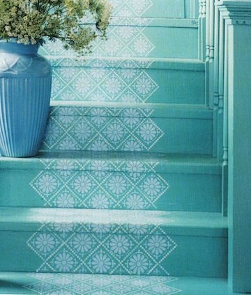 Painted Stairs - blue step stenciled runner paint in a white on tan