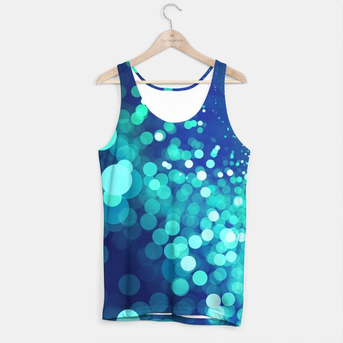 Aqua Blue Glitter Sparkles Tank Top, Live Heroes @liveheroes by @photography_art_decor. All product: https://liveheroes.com/en/brand/oksana-fineart #fashion #clothing #online #shop #design #geometry #metalic #bright #shine #psychedelic #abstract #metalic #abstract #briht #pattern #trendy #stylish #fashionable #modern #awesome #amazing #clothes  #glitter #bokeh #dots #sparkling #girly #twist #swirl #psychedelic #light #aqua #blue #marine #water #sparkles #night