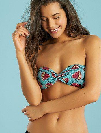 Haut de maillot de bain bandeau twisté 'toucan' feuilles bleu/rose Femme - Kiabi
