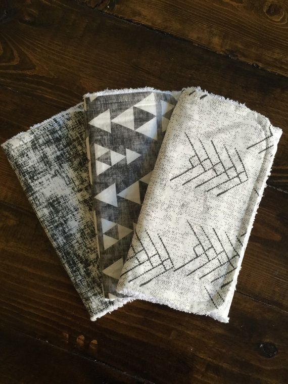 Burp Cloths, Black and White, Arrows, Stacked Triangles, Modern, Baby Shower