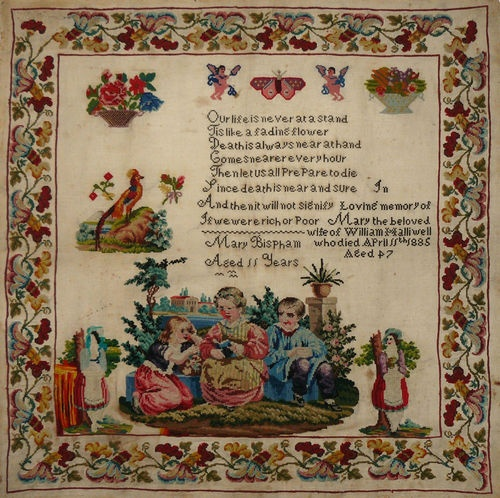 Victorian Sampler - made in coloured wools by Mary Bispham when she was 11 in 1850. Mary was b. 1839 in Lathom, Lancashire where her father was a shoe maker. By 1851, she was a servant at a local farm. The sampler has been embroidered later with more words, in black. These record the death of Mary Halliwell, aged 47, in 1885. Mary Bispham had married William Halliwell in 1865 in Chorley where she died 20 years later, having had 8 children, one of whom added the end of her story to her…