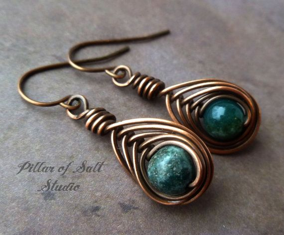 Wire wrapped earrings / wire wrapped jewelry by PillarOfSaltStudio, $20.00. Love the colors and design.