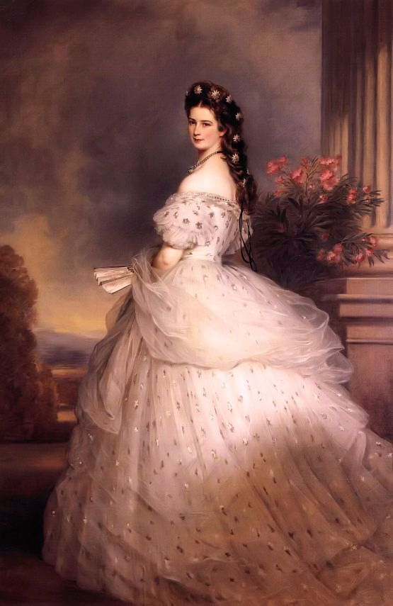 1865 Elisabeth with diamond stars by Franz Winterhalter (Hoffburg, Wien)  One of the most famous portraits of Empress Elisabeth this one shows her with diamond stars in her hair. Have seen this portrait in person and it is absolutely mesmerizing....it is life size and glows with beauty...