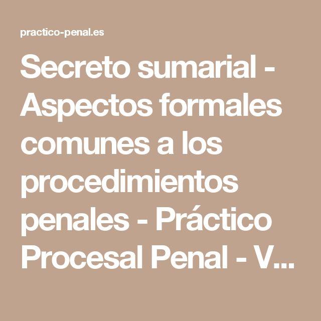 Secreto sumarial - Aspectos formales comunes a los procedimientos penales - Práctico Procesal Penal - VLEX 391382754
