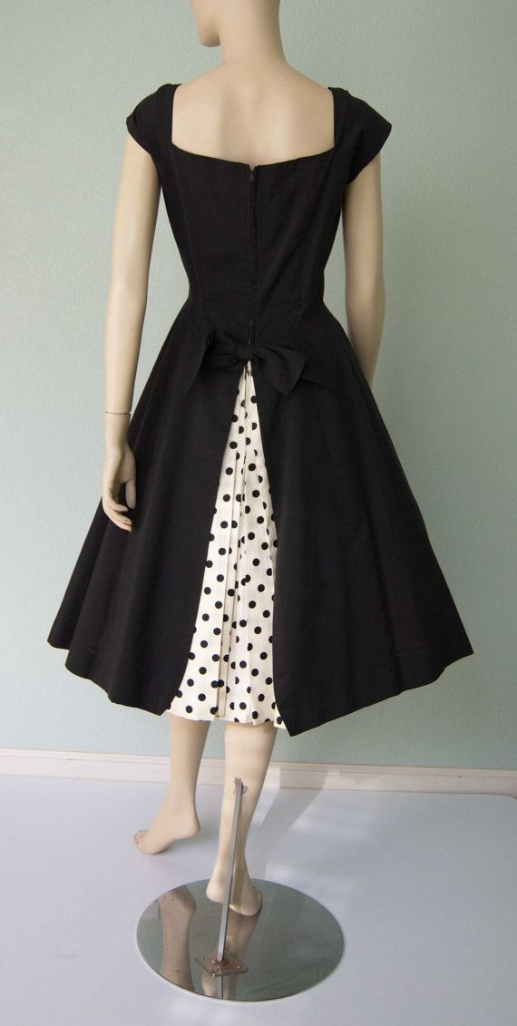 Pretty New Look 1950s Black Dress with Polka by KittyGirlVintage