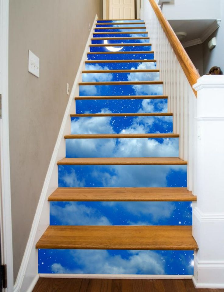 Starry Night Painted Stairway, 15 Stairs