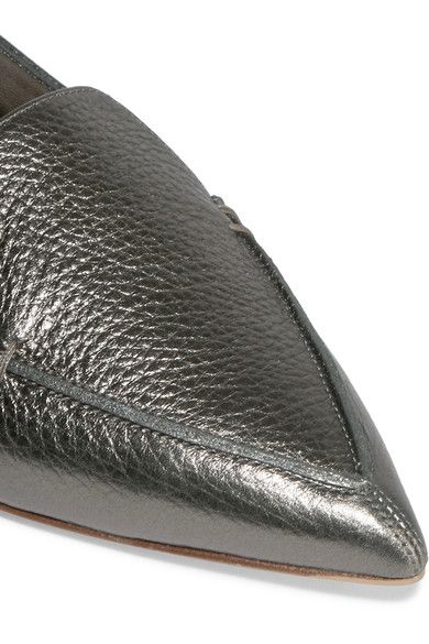 Nicholas Kirkwood - Beya Metallic Textured-leather Point-toe Flats - Gunmetal - IT37.5
