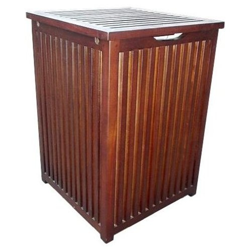 Colonial wood hamper laundry box in mahogany wood - Wooden hampers for laundry ...