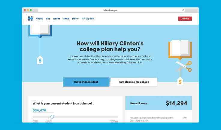 Hillary for America Design 2016 — College calculator