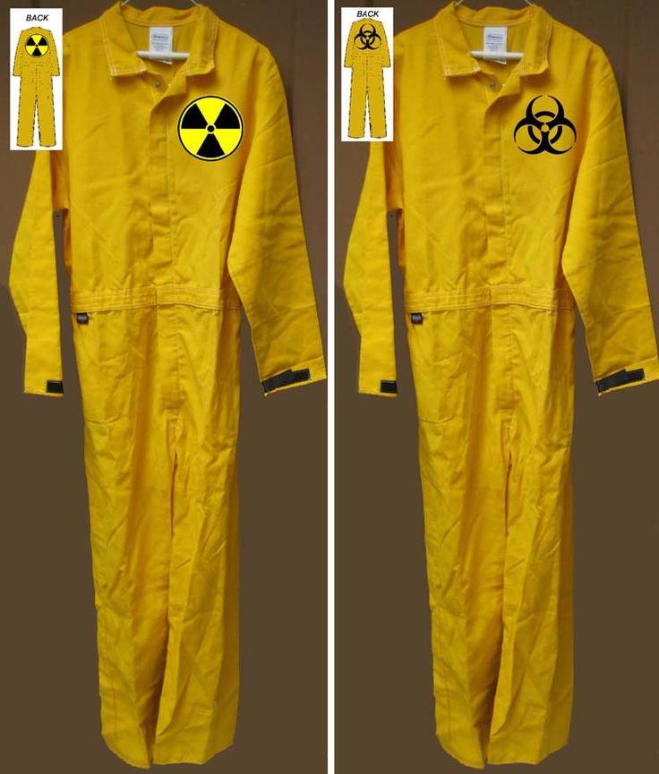 Nuclear RADIATION BIOHAZARD YELLOW JUMPSUIT Halloween Costume