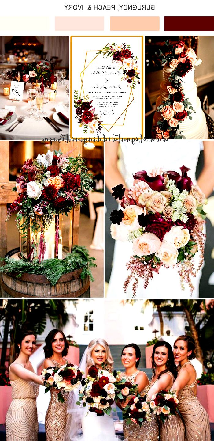 vibrant burgundy,peach pink and gold fall wedidng colors