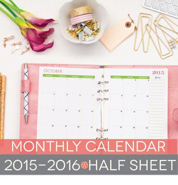 Calendar Half Sheet : Printable calendar  half sheets by