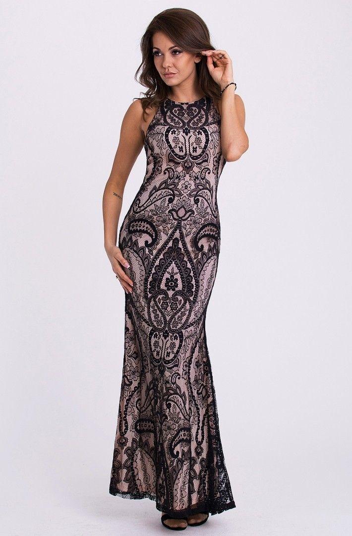 EVA&LOLA SUKIENKA - ROŻOWO-CZARNA Efektowna dopasowana sukienka wieczorowa w odcieniach różu pokryta czarną koronką. Długość maxi. Z tyłu zapinana na kryty zamek.  #modadamska #sukienkiwieczorowe #sukienka #suknia #sklepinternetowy #allettante