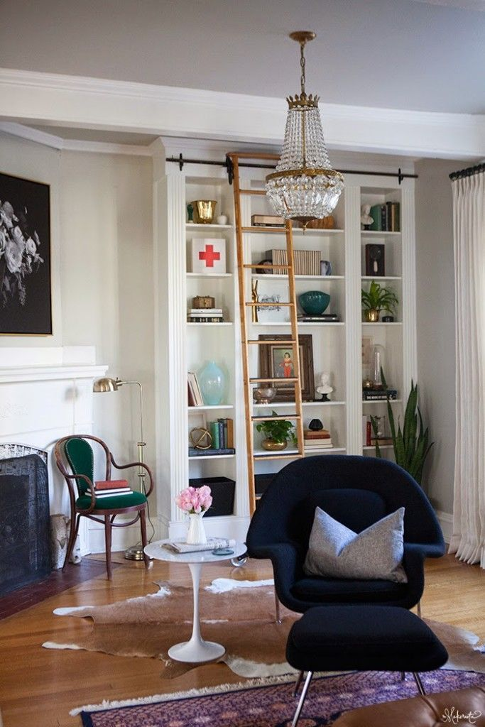 NO WAY! This is one of my favorite Ikea ideas/Ikea hacks EVER. This gorgeous library wall was made from Ikea Billy Bookcases. Love it!