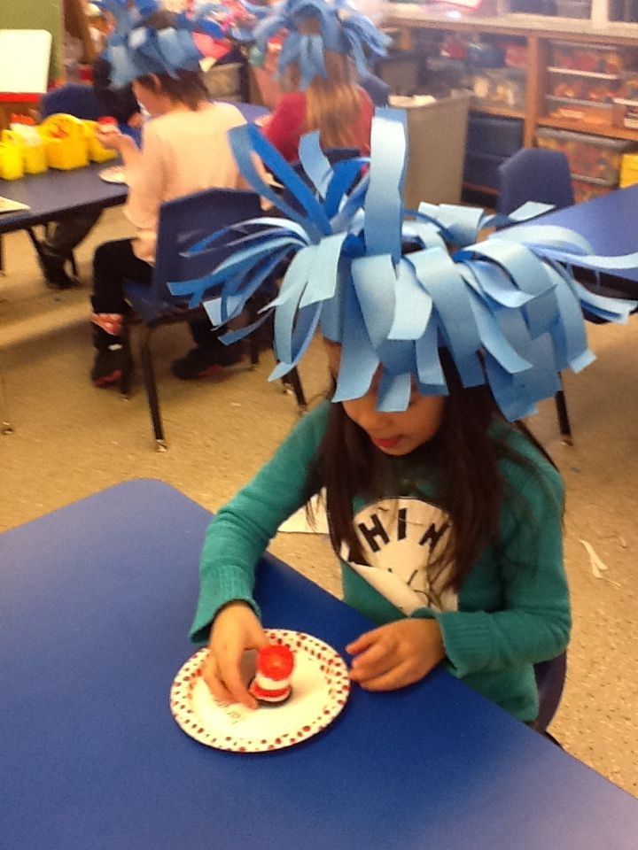 Thing 1 & Thing 2 Hats - Cut school blue butcher paper into strips, fold in half lengthwise and draw a line to show how far you should cut. A couple of staples will hold the two halves steady and makes it easier for little fingers to cut. They cut on the open side and the folded side becomes the bottom of the hat.